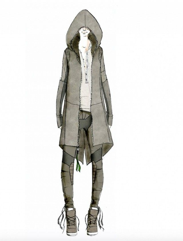 Rag and Bone's Star Wars inspired outfit pairs an oversized jacket with military inspired pants and wedge sneakers.