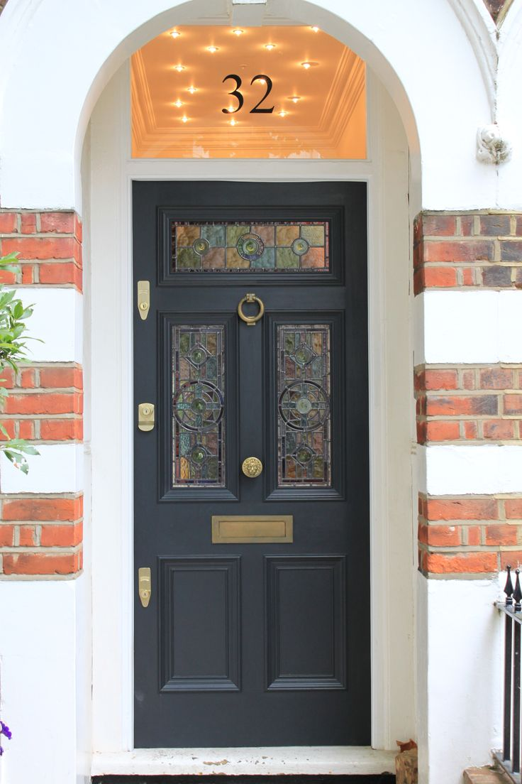 Gorgeous leaded light front door in Farrow & Ball's Off Black