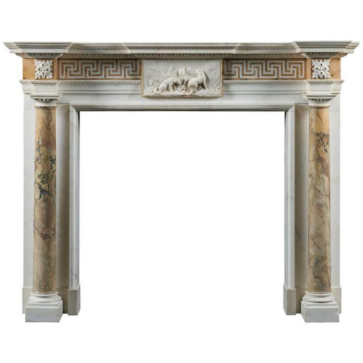 1stdibs Fireplace / Mantel – Statuary & Of British Palladian Marble, Siena Marble, Statuary Marble