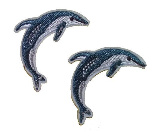 From 3.30 Dolphin (set Of 2) Iron On Sew On Embroidered Badge Applique Motif Patch From Patchwow
