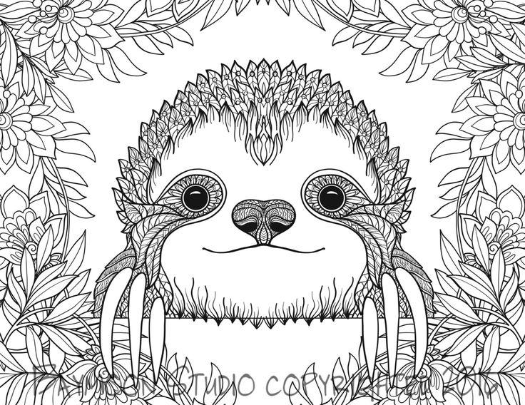 página para colorear de bebé perezoso perezoso por