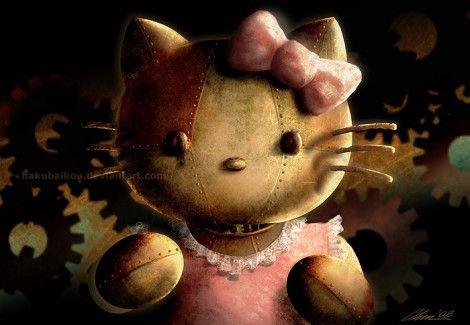Steampunk Kitty: Steampunk Art, Art Steampunk, Steampunk Kitty, Steampunk Hello Kitty, Meeting Steampunk, Ambystoma Mexicanum, Kitty Steampunk, Dark Hello Kitty, Axolotl