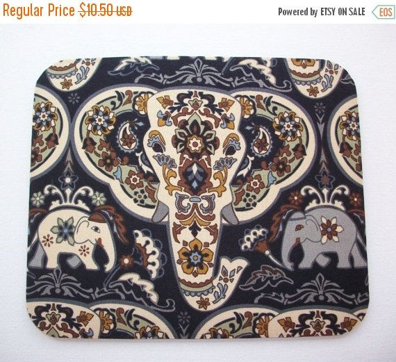 Sale  Elephant Mouse Pad mousepad / Mat  Round or by Laa766  chic / cute / preppy / computer, desk accessories / cubical, office, home decor / co-worker, student gift / patterned design / match with coasters, wrist rests / computers and peripherals / feminine touches for the office / desk decor