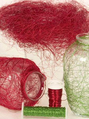Creative touch with sisal and decorative wires - wrapping for vases or mason jars?