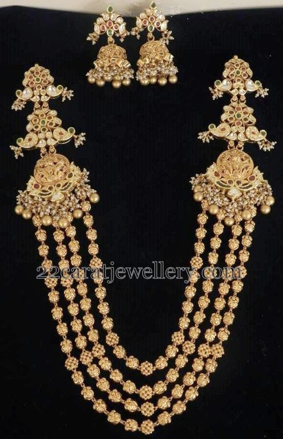 Jewellery Designs: Nice Carving Gold Beads Haram
