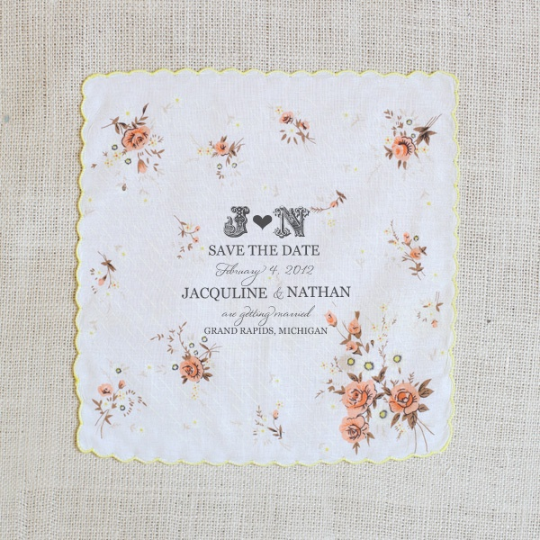 keepsake Save the Date hanky, from the Wedding Chicks