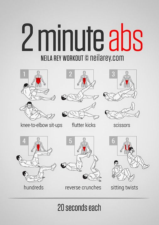 2 Minute Ab Workout PDF:http://darebee.com/workouts/2minute-abs.html