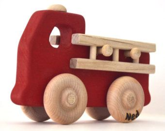 Personalized Wooden Toy - Fire Truck - Waldorf Inspired Natural Wood Toy Fire Engine - by Hill Country Woodcraft