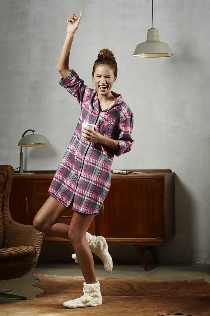 Pink & grey 'chunky checked' Rebelle long sleeved flannel nightshirt with optional turn-ups