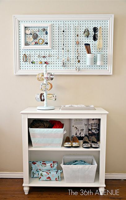 Peg Board and Molding Frames.     http://www.the36thavenue.com/2011/10/peg-board-and-accessories-station.html