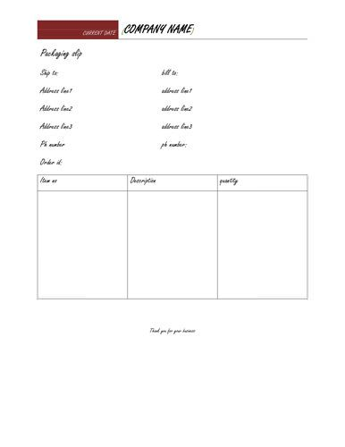 Best Packing List Template Images On   Packing Slip