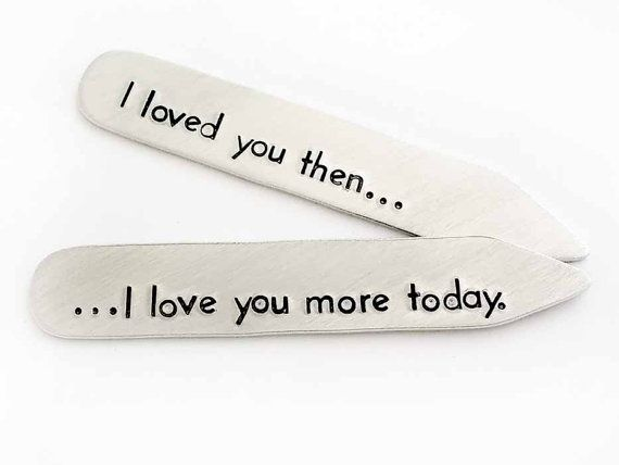 One pair of personalized collar stays, hand stamped with your message. This pair of collar stays is lightweight and has a brushed finish.  The collar stays are 2 1/4 long and 3/8 wide. The personalization is up to you, and each collar stay will fit up to 25 letters and spaces on it. They are made of lightweight aluminum for comfortable wear. Each letter is stamped individually by hand in a block font.  Because these are stamped by hand and not by machine, the letters will not always...