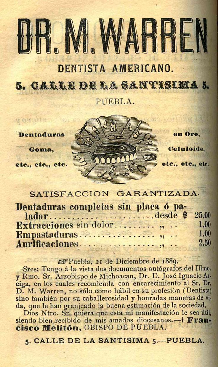 Dentista. Tercer almanaque de efemérides del Estado de Puebla : para el año de 1891 / por José de Mendizábal. (R) 529.4 MIS.1. Calendarios Mexicanos del Siglo XIX. Fondo Antiguo. Biblioteca del Instituto Mora, México. Dentist. Third almanac of ephemeris of the State of Puebla: arranged to the meridian of its capital, for the year of 1891 / by Jose de Mendizábal. (R) 529.4 MIS.1. Mexican Calendars of the 19th Century. Old Background. Library of the Mora Institute, Mexico.