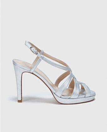 Sandalias de tacón de mujer Latouche de piel plateadas