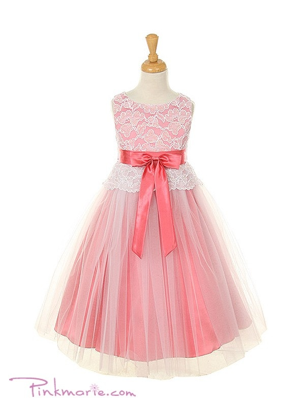 Coral Lace Bodice with Double Layered Girl Dress