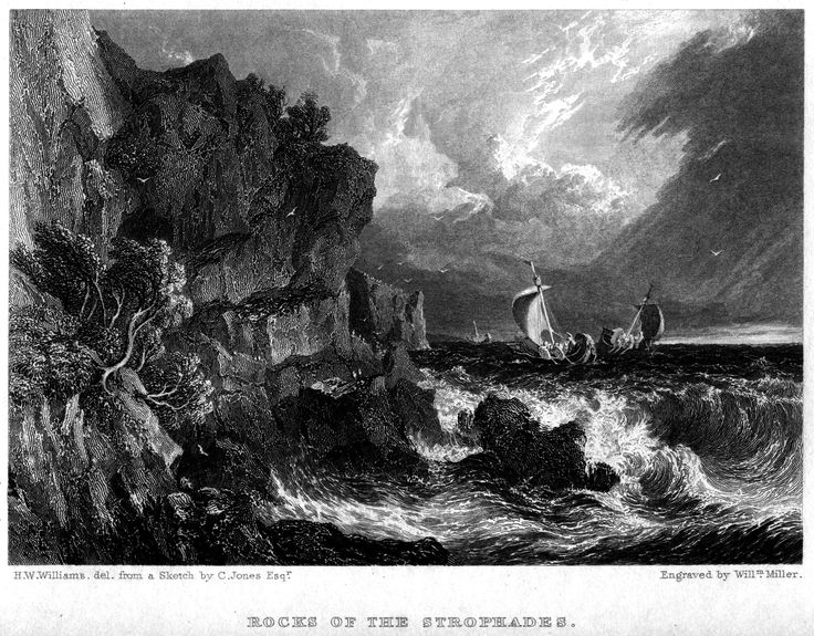 Hugh William Williams (1773-1829)-Rocks of the Strophades_engraving by William Miller (1796–1882)