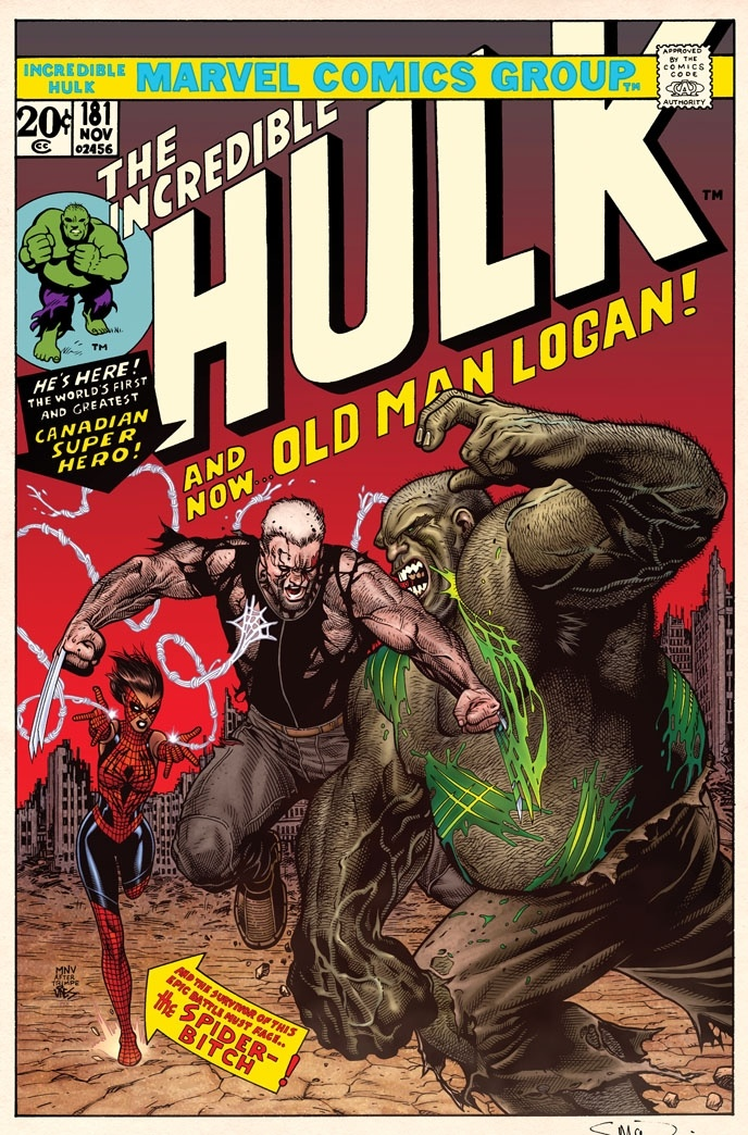 The Incredible Hulk #181 Old Man Logan Cover Recreation By Steve McNiven, Dexter Vines & Morry Hollowell Comic Art