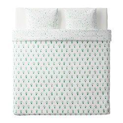 IKEA - SÄLLSKAP, Housse de couette et taie, 150x200/65x65 cm, , Linge de lit tissé très fin et très serrépour une qualité très douce et résistante.Les boutons-pression cachés maintiennent la couette bien en place.Housse de couette avec des motifs différents de chaque côté pour changer facilement le décor de votre chambre.