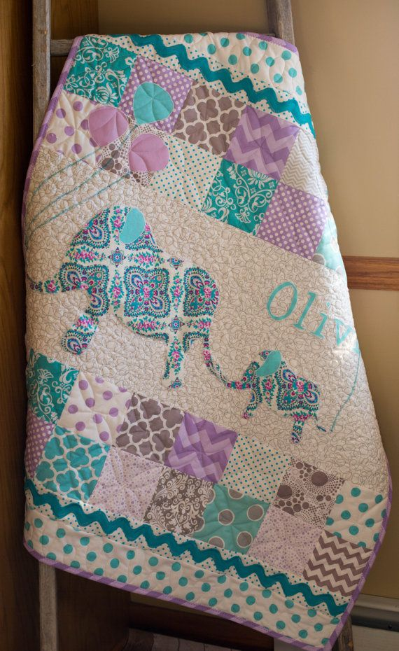 Personalized, Modern, Handmade Baby Quilt For Sale. The beautiful, detailed…