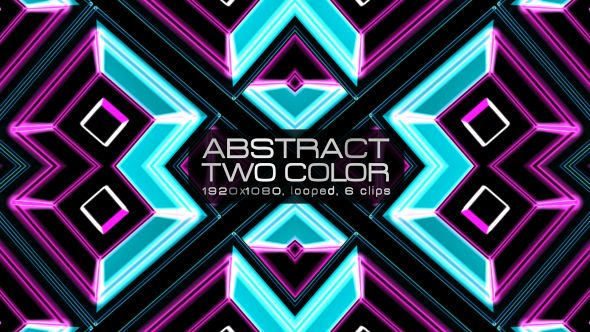 Abstract Two Color Video Animation | 6 clips | Full HD 1920×1080 | Looped | Photo JPEG | Can use for VJ, club, music perfomance, party, concert, presentation | #3d #box #colorful #cyan #dance #geometric #glow #loop #magenta #music #pattern #sequence #spinning #vj #wall