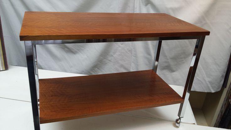 Retro Vintage tv tafel teak/chrome - BY-HENK