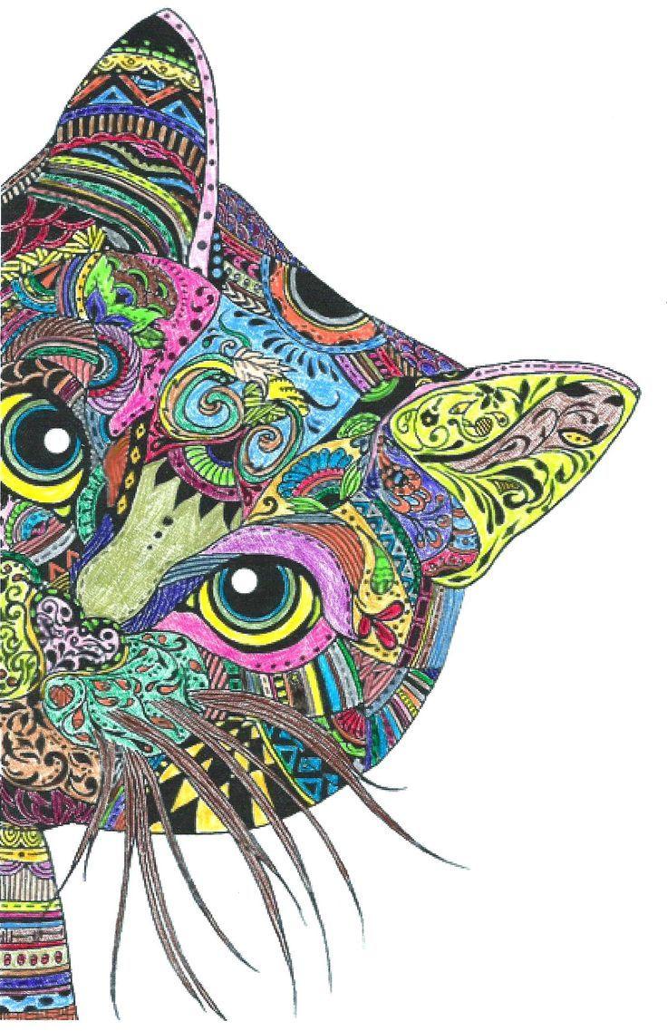Katze Completed Mandalas Zentangles Completed Katze Mandalas Zentangles Mandala Kleurplaten Tekenkunst Mandala