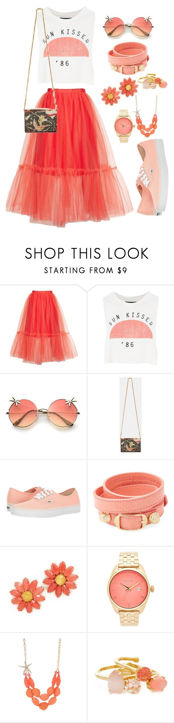 """Dressy casual"" by xmoonagedaydreamx ❤ liked on Polyvore featuring Topshop, Yves Saint Laurent, Vans, Balenciaga, Kate Spade, Nixon, Kim Rogers, Summer, sun and vans"