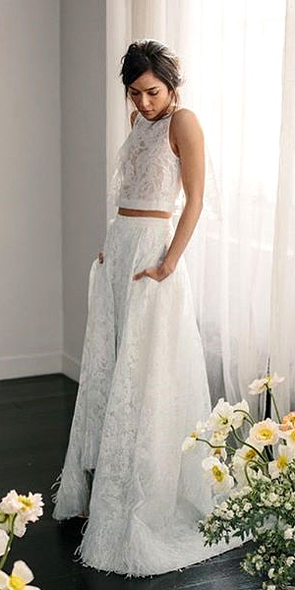 Bridal Separates Gowns - Breaking The Rules ❤ See more: http://www.weddingforward.com/breaking-the-rules-bridal-separates/ #wedding #dresses