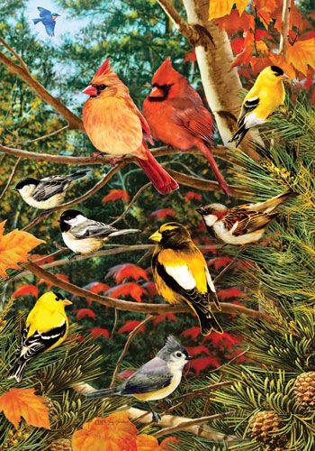 Custom Decor Flag   Songbirds On Pine Decorative Flag At Garden House Flags  At GardenHouseFlags