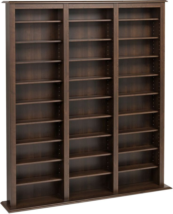 Media Storage Cabinet Contemporary Espresso Finish Barrister Adjustable Shelving #Prepac #Contemporary
