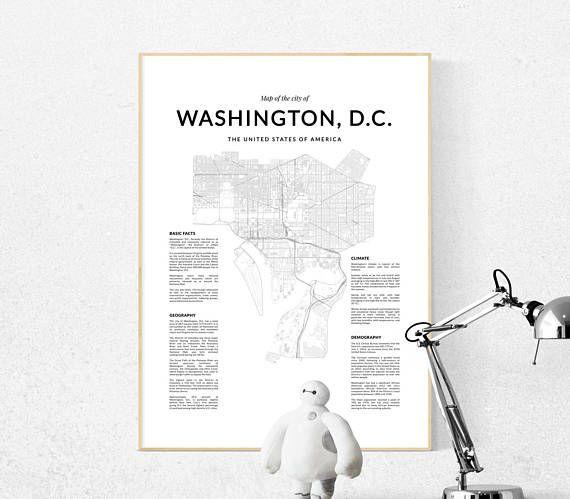 Washington DC map city map print Washington print