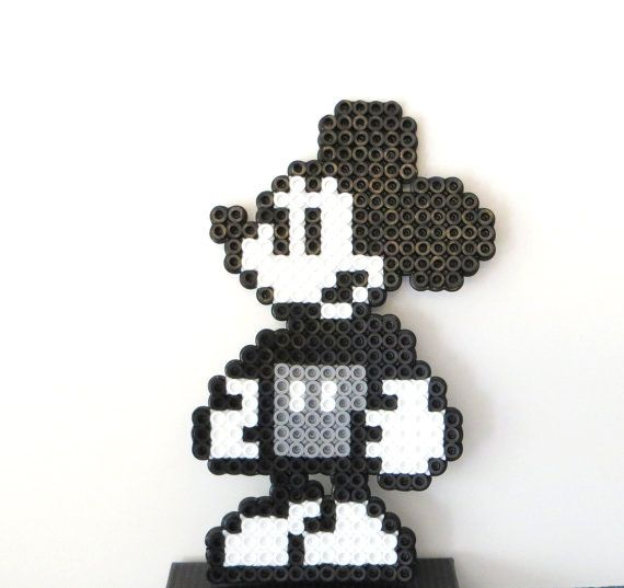 STEAMBOAT WILLIE- MICKEY- Pixel Art Created with Perler Beads- Mickey Mouse Wall Art or Magnet