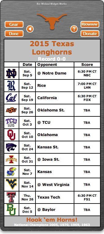 BACK OF WIDGET - Free 2015 Texas Longhorns Football Schedule Widget - Hook 'em Horns! - National Champions 2005, 1970, 1969, 1963  http://www.riowww.com/teamPages/Texas_Longhorns.htm