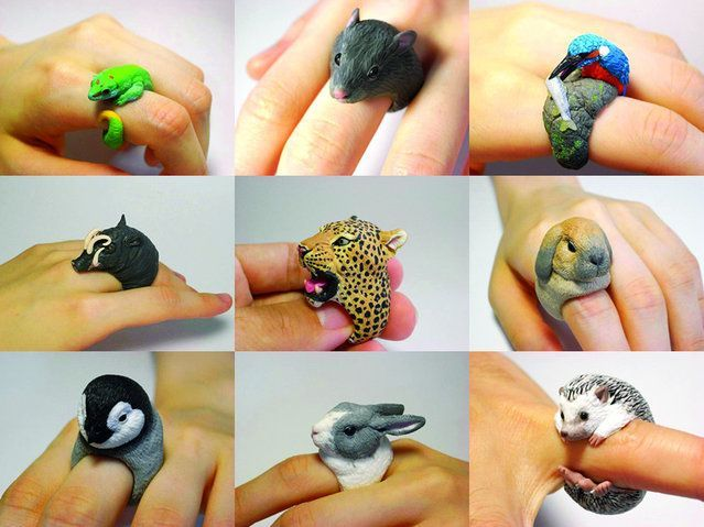 Magnificently carved  animal rings