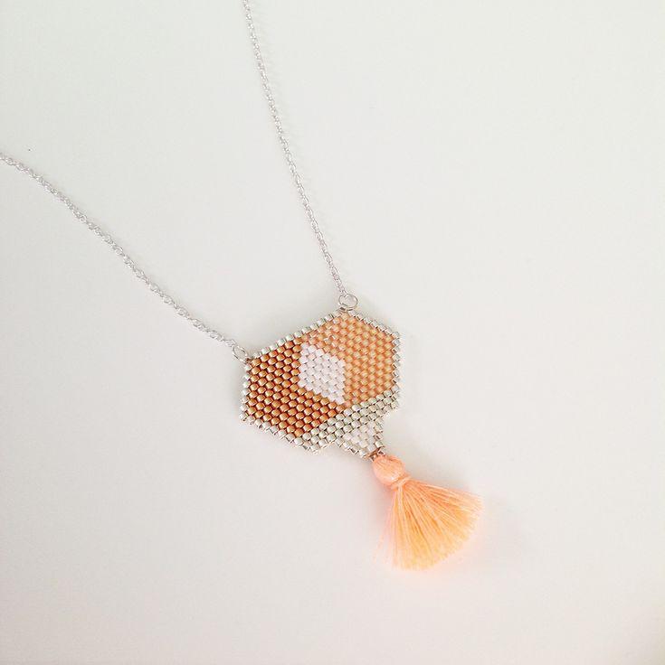 Collier en perles miyuki pêche cuivre et argenté tissé main avec chaîne argentée
