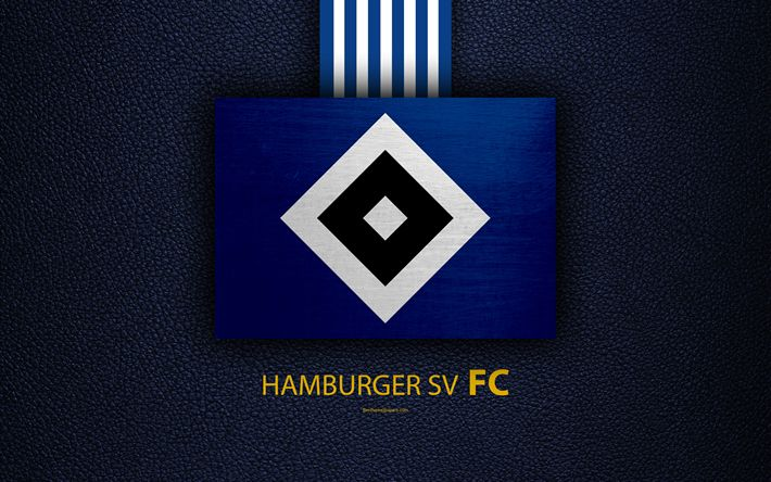 Download wallpapers Hamburger SV FC, 4k, German football club, Bundesliga, leather texture, emblem, logo, Hamburg, Germany, German Football Championships