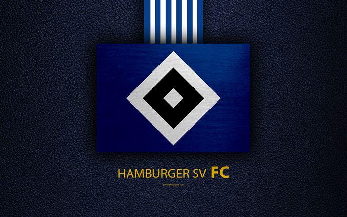 Download wallpapers Hamburger SV FC, 4k, German football club, Bundesliga, leather texture, emblem, logo, Hamburg, Germany, German Football Championships