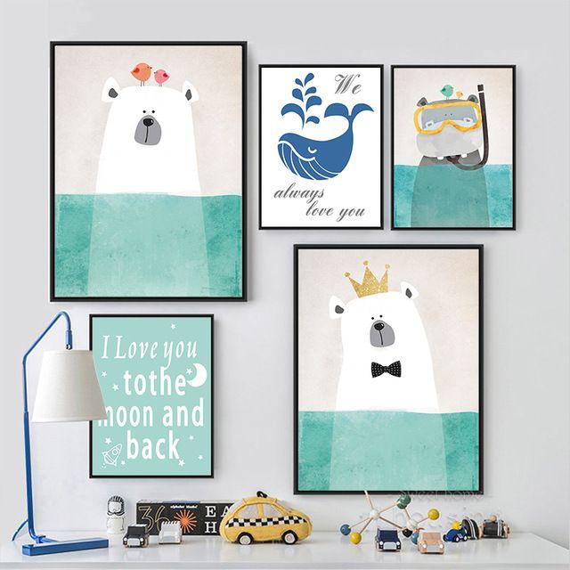 Moderne Nordique Kawaii Ours Hippopotame Animal Bird A4 Art Impressions affiche de Bande Dessinée Mur Photos Toile Peinture Non Encadrée Chambre D'enfants décor