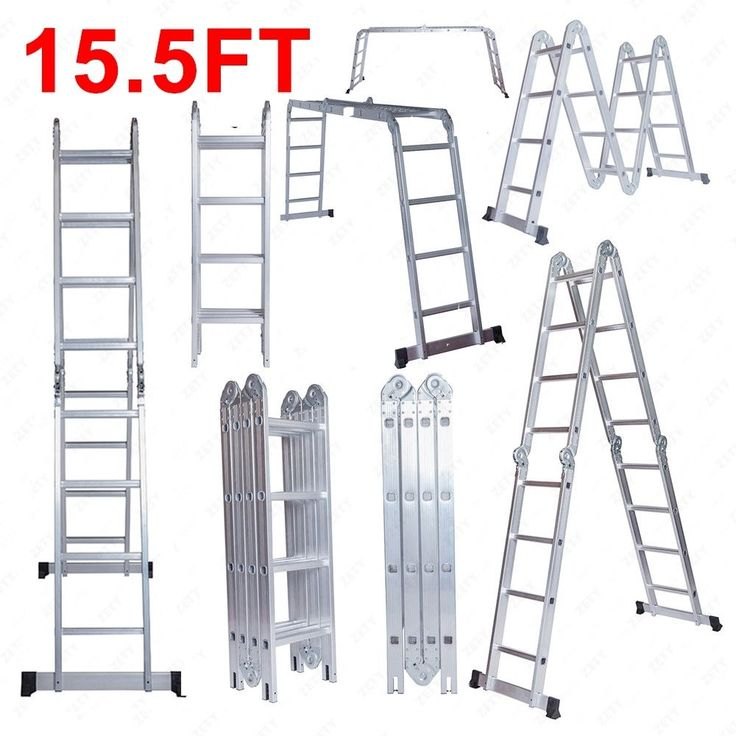 BN 15.5FT Aluminum Multi Purpose Ladder Telescoping Telescopic Extension Folding #ZETY