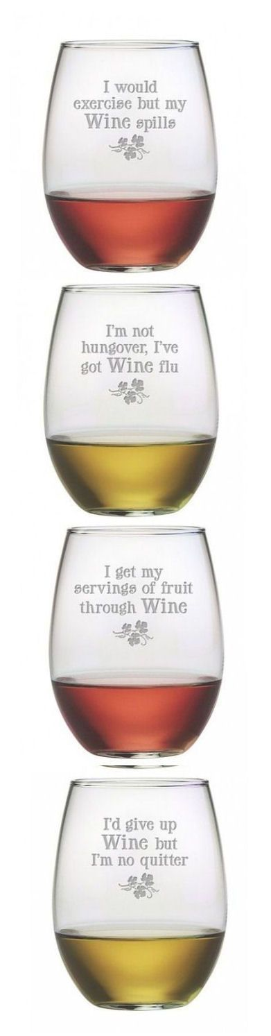 Wine Justification Stemless Wine Glass Set ❤︎