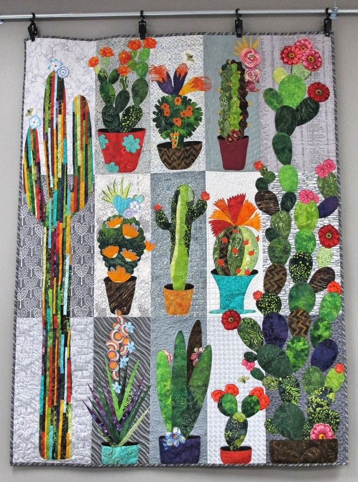 Collage Cactus Absolutely Amazing Flower Quilts