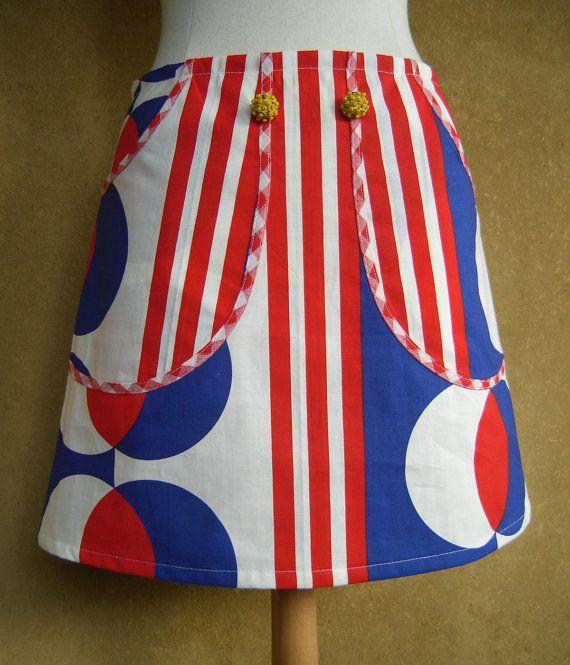 Rood Wit Blauwe rok A-lijn rok katoenen rok groot door LUREaLURE