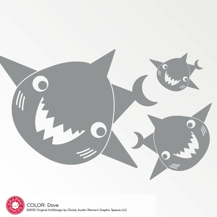 Happy Shark Family Decals Ocean Wall Stickers