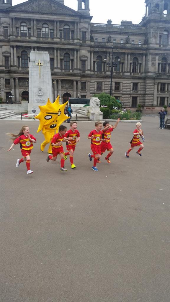 "Horrifying Scottish sun mascot tries to eat children, confirming our suspicions.  Remember when Scottish soccer club PartickThistle FC unveiled their new scary, criminal-looking, unibrowed sun mascot Kingsley? Remember when we all saw that and were like ""that thing definitely eats children?"" We were right! Run wee ones run!"