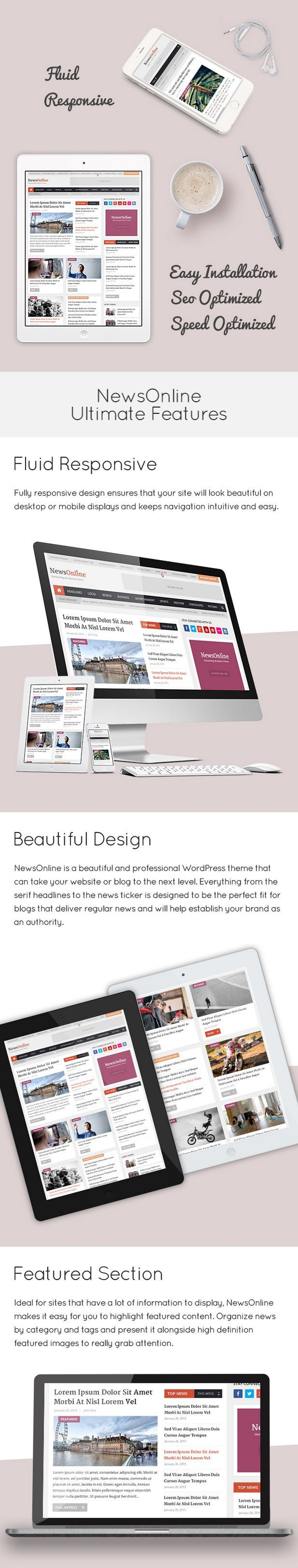 NewsOnline Beautiful & Professional #WordPress #Theme - NewsOnline is a beautiful and professional #responsive WordPress #template with a glossy feel that's perfect for news sites and online magazines. For webmasters and designers looking to build sites that display lots of information in a way that feels authoritative and high quality. Ensure you are able to compete with the top players in your niche!