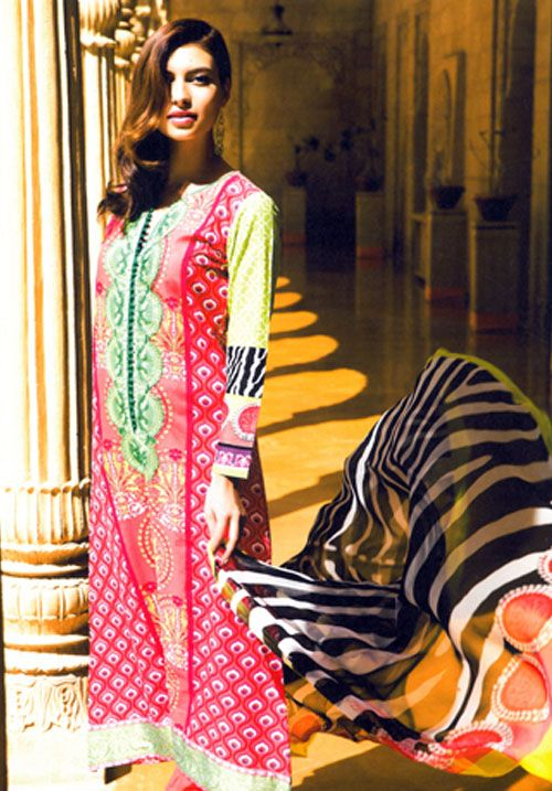 Perfect Combination Of Dark Pink And Light Green With Long Neck Embriodery. #pakistani #suits #collection #maria   Buy at : http://www.alicolors.com