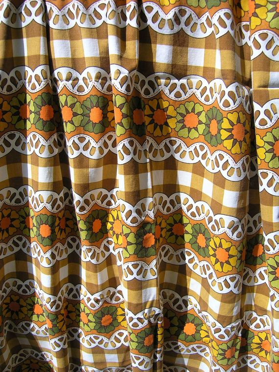 Funky Retro Curtain Vintage 1960s 1970s Curtain by RetroBerlin