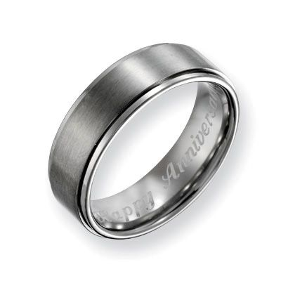 I've tagged a product on Zales: Men's 7.0mm Engraved Titanium Ridged Edge Wedding Band (27 Characters)