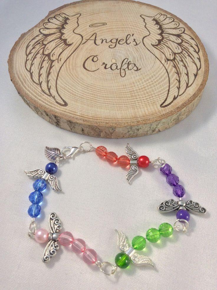 Ladies bracelet, Bracelet, Beaded bracelet, Charm bracelet, Beaded, Silver wings, Rainbow, Silver,  Dragonfly, Unique, Fashion, OOAK by Angelscrafts1 on Etsy