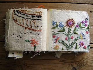 """"""" I started making this sample book many years ago. I have cut up old bits of domestic hand embroidery and sewn them into a book. I find it a useful reference tool when I am stuck for a stitch. In some cases I have deliberately sewn the fragment in back to front as I find the random marks on the back just as interesting."""""""